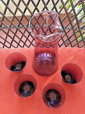 Rare 5 Piece Vintage Purple Amethyst Glass Set A Carafe Decanter & 4 Glasses