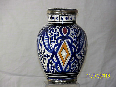Antique Moroccan Hand Painted Silver Rim/Base Art Pottery Vase