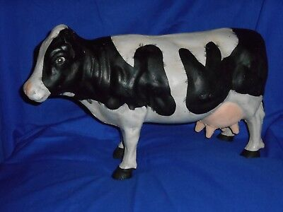 "Nice Vintage Extra Large 17"" Long Cast Iron Cow Door Stop Store Display Statue"
