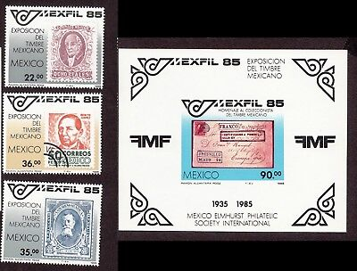 1985 Mexico Stamps -Exfil 85 Philately -   MNH Minisheet & 3 stamps