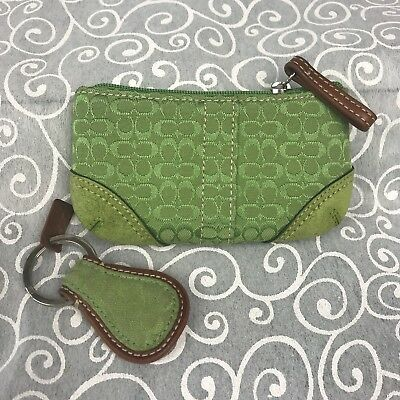 COACH Green Coin Purse and Key Ring Fob Signature Canvas Suede Card Case vintage
