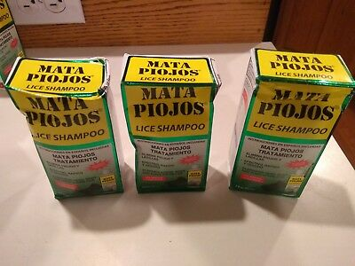 Lot of 3 MATA PIOJOS 2 oz Lice Shampoo ( Distressed boxes)