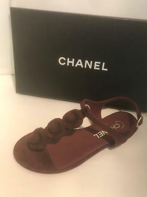 9df00feab1b CHANEL 17A Suede Camellia Flower T Strap Thong Flat Sandals Shoes Burgundy   795