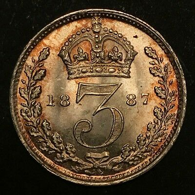 1887 Great Britain 3 Pence AU/BU silver coin with beautiful toning