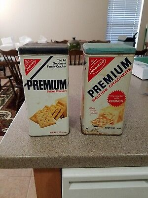 Lot of 2 - Vintage Nabisco Tin Premium Saltine Cracker Kitchen Canister Can