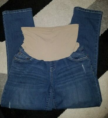 Indigo Blue Maternity Full Panel Skinny Jeans Large medium wash destroyed cute