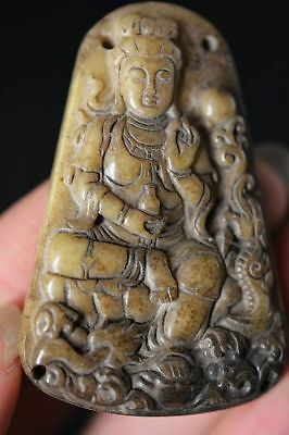 Excellent Chinese old jade hand-carved *Guanyin Bodhisattva* pendant  D21