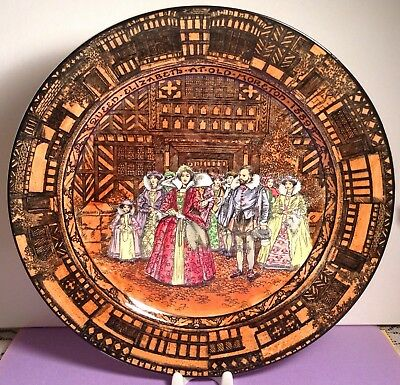 "Royal Doulton Plate ""queen Elizabeth At Old Moreton 1589"" Very Colorful"