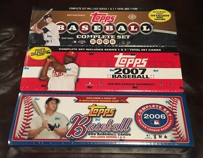 Lot of 3 Topps Baseball Complete Factory Sealed Set s 2006 2007 2008