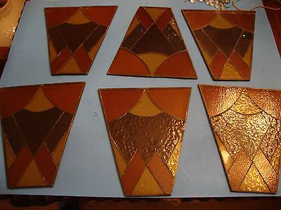 6 Vintage Old Stained Leaded Glass  Lantern  Panels Lamp Shade Making