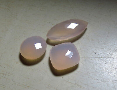 3pc PINK AGATE FANCY CUT faceted CHECKERBOARD LOOSE GEMSTONES 17ct