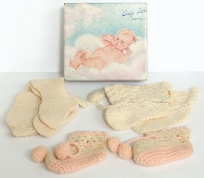 Vintage Wool Baby Booties 1930s-40s Lot of 3 Pairs Dolls Bears Knit Crochet Old