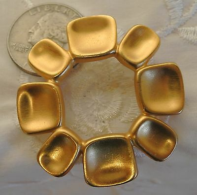 Vtg Anne Klein Brushed/Matte Gold Concave Discs Circle Round Pin/Brooch-1.75""