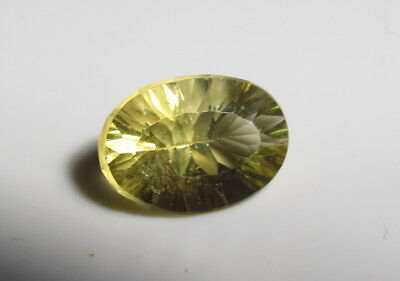 15x10mm CONCAVE OVAL CUT YELLOW FLUORITE faceted LOOSE GEMSTONE