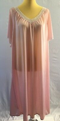 Vintage Blair Nylon Nightgown Lingerie Pink Lace Trim Full Flowing Sweep 2XL XXL