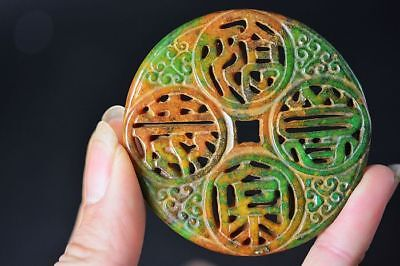 Excellent Chinese old green jade Carved *Written words* Pendant   D21
