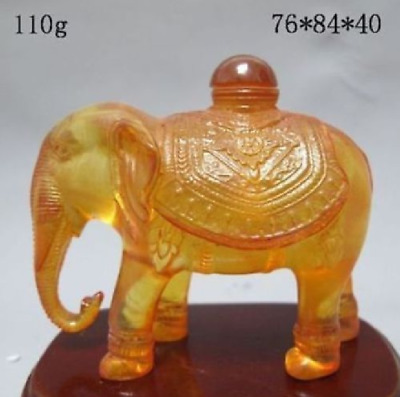 Decorated Old Wonderful Handwork Amber Carving Elephant Statue Ornament Bottle