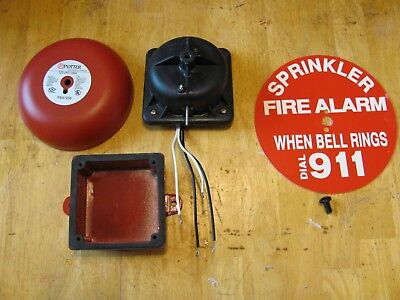 Potter PBA1206 120VAC/.05A Fire Alarm Bell With Backbox And Sprinkler Sign