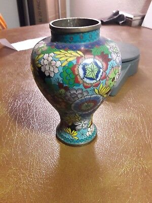 Antique Handmade Chinese Asian Floral Enamel Bronze Cloisonne Flower Vase