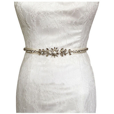 Handmade Rhinestone Applique Satin Bridal Sash Belt for Wedding Dress