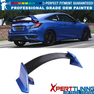 Fit 16-18 Honda Civic X 10th Gen Coupe Type R Trunk Spoiler-OEM Painted Color