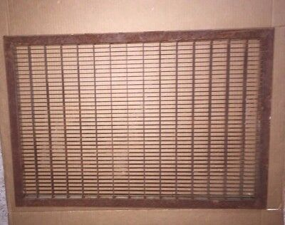Vintage Large Heavy Steel Floor Grate Louvered Heat Register Rustic