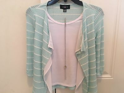 Clothing Girls Teal and White striped Top Girls size 14 with matching necklace