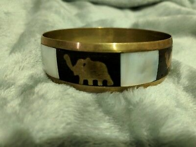 Nice Vintage Inlaid Mother Of Pearl Elephants Brass Bangle Bracelet Made India