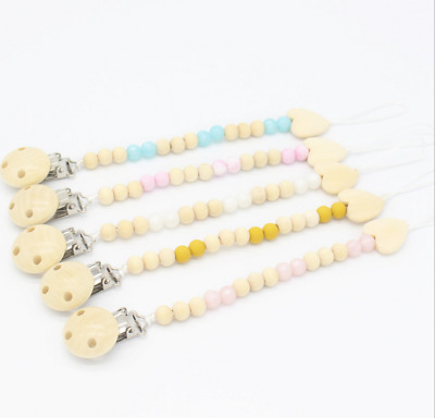 Silicone Baby Teething Dummy Pacifier Clip Bead Infant Soother Nipple Chain New