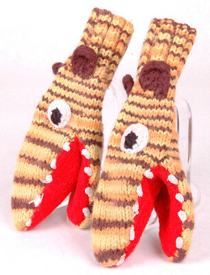 Hand Knitted Wool Mittens-Lizzard Alligator Crocidile-Youth-Eyes Teeth Ears-Vtg