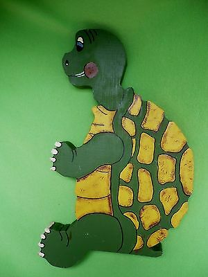 Vintage LARGE dock or ledge sitting TURTLE. Handcrafted & hand-painted.VGC clean