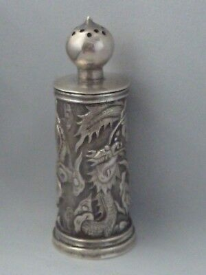 Antique / Vintage Chinese solid silver pepperette by Wang Hing