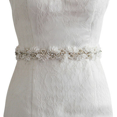 Cute Floral Pearls & Rhinestone Bridal Wedding Sash Belts For Dress