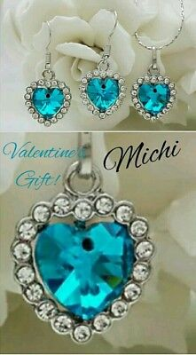 Valentine Sweetheart  AquaBlue heart necklace and earring set-white gold plated