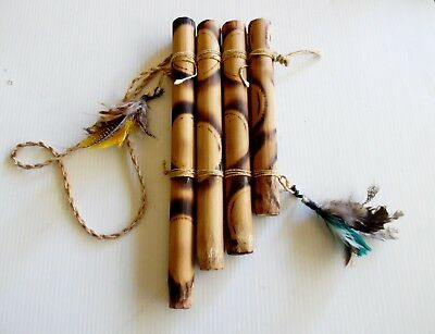 Vintage Asian Quad Bamboo Wooden PAN Flute Hand Made 26 cm X 10 cm  X 1 cm
