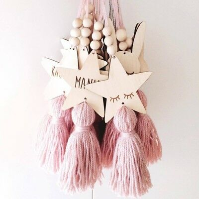 Modern Wood Bead Tassel Wall Hanging Ornaments Kid Bedroom Home Decor Door Decor