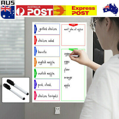 A3 Magnetic Whiteboard Shopping List Family Weekly Planner + 2 Free Markers AU
