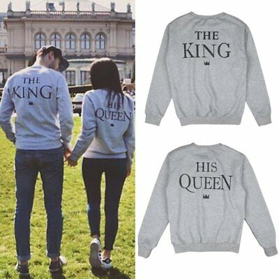 Couple Matching The King His Queen Print Sweatshirt Pullover Sweater Jumper Tops