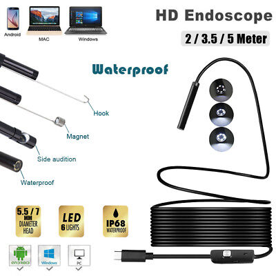 USB Endoscope Android Mobile Phone Snake Camera Waterproof Inspection Borescope
