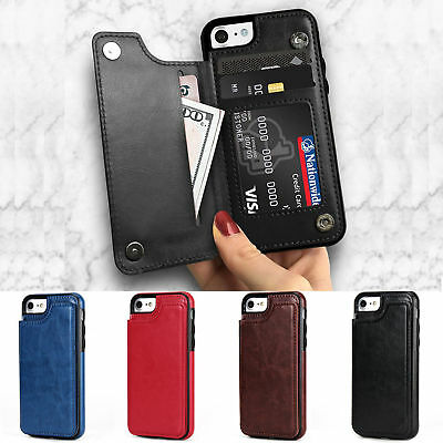 Flip Leather Back Case Wallet Card Slots Stand Cover For iPhone X Plus 8 7 6s 5s