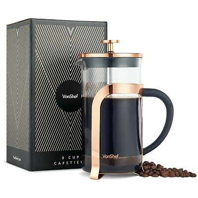VonShef Copper Cafetiere French Press Coffee Maker Stainless Steel 8 Cup Plunger