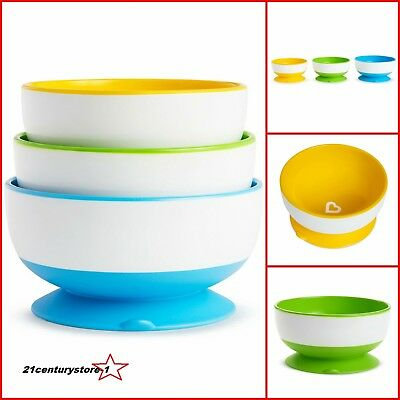Munchkin Stay Put X3 Non No Spill Baby Toddler Suction Weaning Feeding Bowls
