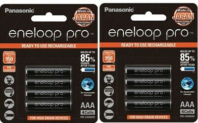Panasonic Eneloop Pro - AAA NiMH Rechargeable Batteries x 8 - Made in Japan