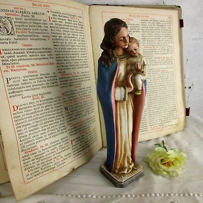 Italian Statue Virgin Mary our Lady  Madonna Infant Child Plaster Polychrome 50s