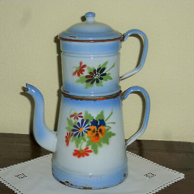 Ancienne Cafetiere Emaillee A Etage