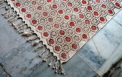 Turkish Cotton Kilim Rag Rug Turkish Cotton Block Print Kelim Area Carpet Rug
