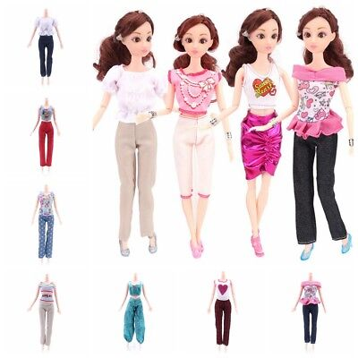 5 Tops + 5 Pants Casual Summer Clothes Fashion Girl Gift Outfit for Barbie Doll
