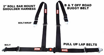 "4 Point Racing Harness Off Road 2"" Seat Belt B&t Roll Bar Mount Black"
