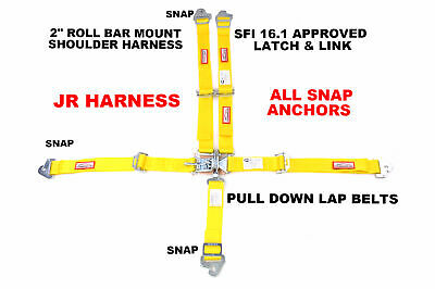 Jr Snap In Racing Harness Sfi 16.1 5 Point Latch & Link Roll Bar Mount Yellow