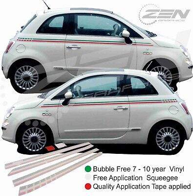 Fiat 500 595 Italian Side Stripes Decals Stickers Vinyls OEM panel fit quality